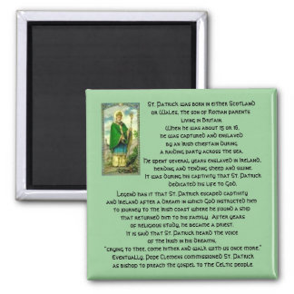 The Life of St. Patrick-Irish Saint history 2 Inch Square Magnet