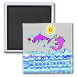 The Life Saver Dolphins 2 Inch Square Magnet