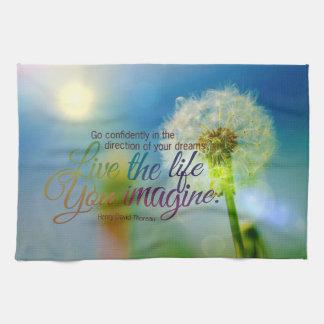 The Life You Imagine Dandelion Motivational Quote Towel