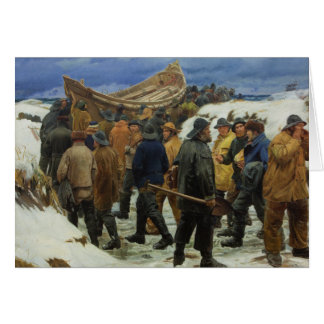 The Lifeboat is Taken through the Dunes by Ancher Card