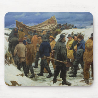 The Lifeboat is Taken through the Dunes by Ancher Mouse Pad