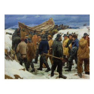 The Lifeboat is Taken through the Dunes by Ancher Postcard