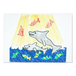 "The Lifesaver Dolphins 5"" X 7"" Invitation Card"