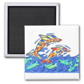 The Lifesaver Rainbow Dolphins 2 Inch Square Magnet