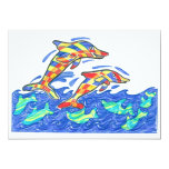 The Lifesaver Rainbow Dolphins 5x7 Paper Invitation Card