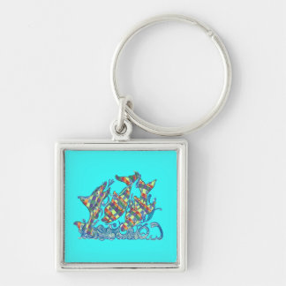 The Lifesaver Rainbow Dolphins Silver-Colored Square Keychain