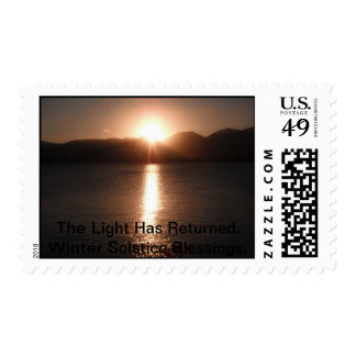 The Light Has Returned. Winter Solstice Blessings. Postage Stamp