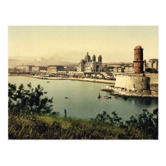 The lighthouse and cathedral, Marseilles, France v Postcard