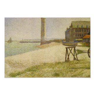 The Lighthouse at Honfleur by Georges Seurat 3.5x5 Paper Invitation Card