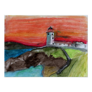 The Lighthouse drawn out with oil pastel crayons Poster
