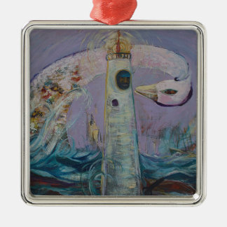 The Lighthouse Keeper and the Swan #1 Metal Ornament