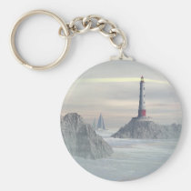 environmentalist, adventurer, outdoorsmen, lighthouse, lighthouses, boat, boats, sailboat, sailboats, ocean, sea, nautical, ship, ships, water, scenic, scene, art, pier, piers, fantasy, realism, coasts, Keychain with custom graphic design