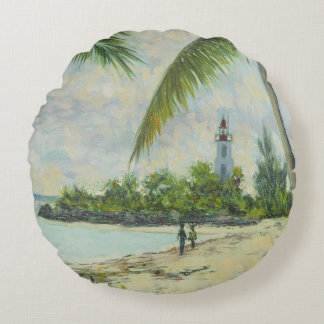 The Lighthouse Zanzibar 1995 Round Pillow