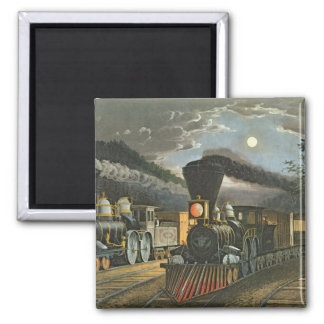 The Lightning Express Trains, 1863 2 Inch Square Magnet