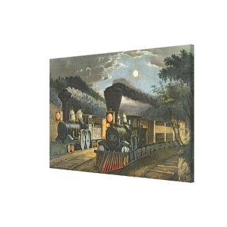 The Lightning Express Trains, 1863 Canvas Print