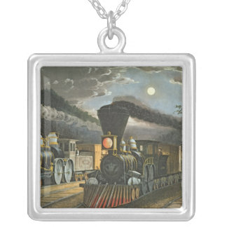The Lightning Express Trains, 1863 Square Pendant Necklace