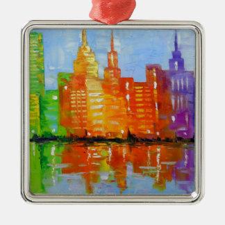 The lights metropolis, metal ornament