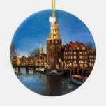 The Lights of Amsterdam Double-Sided Ceramic Round Christmas Ornament