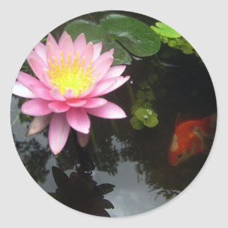 The Lily and The Goldfish Round Sticker