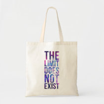 limit, quote, inspire, nebula, space, galaxy, stars, motivational, the limit does not exist, bag, art, cool, quotations, pink, blue, glitter, universe, abstract, motivation, budget tote bag, Bag with custom graphic design