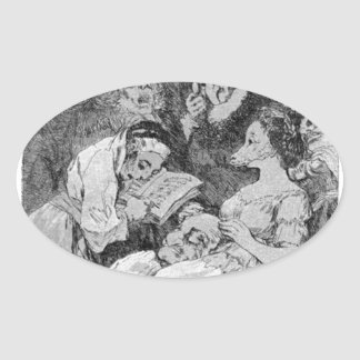 The lineage by Francisco Goya Oval Sticker