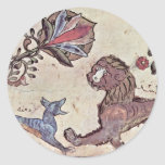 The Lion And The Jackal Dimna By Syrischer Maler U Classic Round Sticker