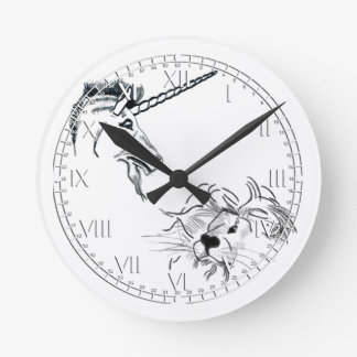 The Lion and the Unicorn Round Clock