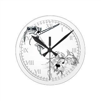 The Lion and the Unicorn Round Clocks