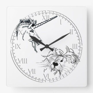 The Lion and the Unicorn Square Wallclock