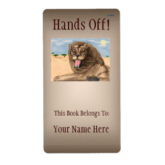 The Lion Bookplate Personalized Shipping Labels