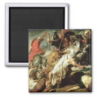 The Lion Hunt, 1621 2 Inch Square Magnet