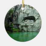 The Lion Monument in Lucerne Double-Sided Ceramic Round Christmas Ornament