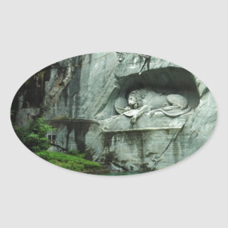 The Lion Monument in Lucerne Oval Sticker