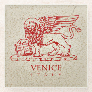 The Lion of Venice on a Marble Background Glass Coaster