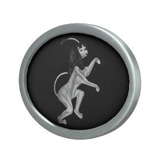 The Lion Rampant (Silver) Oval Belt Buckle