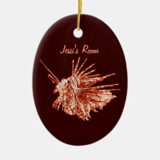 The Lionfish Double-Sided Oval Ceramic Christmas Ornament