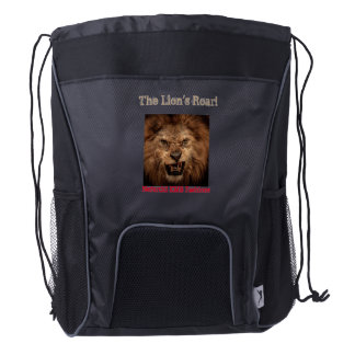 The Lion's Roar Back Pack by Nefertiti KMB Fashion Drawstring Backpack