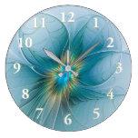 The little Beauty Modern Blue Gold Fractal Flower Large Clock