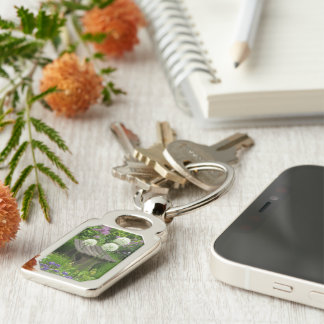 The Little Bench - Metal Rectangle Key Ring Silver-Colored Rectangular Metal Keychain