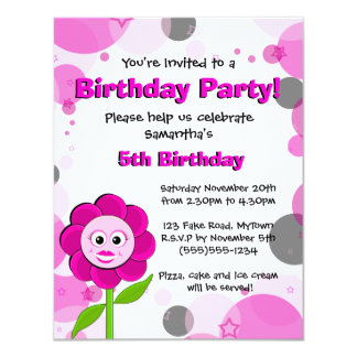 The Little Bloomers - Rosie Flower Birthday Party Card