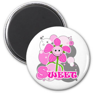 The Little Bloomers - Sweet Selina - Pink Flower Refrigerator Magnet