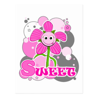 The Little Bloomers - Sweet Selina - Pink Flower Postcard