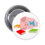 The Little Book Lover ( Cartoon Pig) Button Badge
