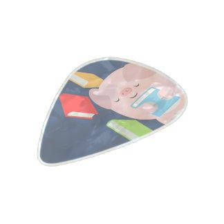 The Little Book Lover (Cartoon Pig) Clayton Guitar Pearl Celluloid Guitar Pick