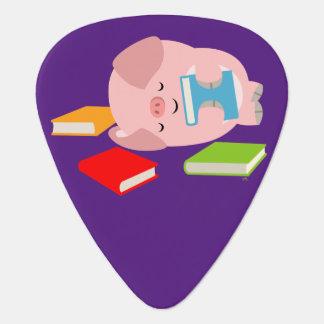 The Little Book Lover (Cartoon Pig) Guitar Pick