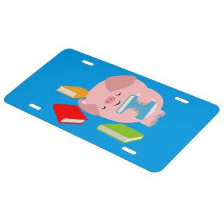 The Little Book Lover (Cartoon Pig) License Plate