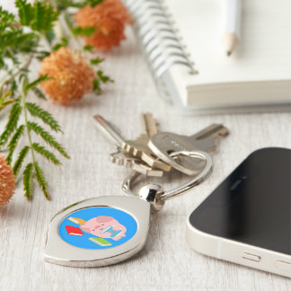 The Little Book Lover (Cartoon Pig) Metal Keychain
