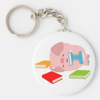 The Little Book Lover (Cute Cartoon Pig) Keyring Basic Round Button Keychain