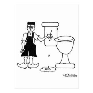The Little Dutch Boy Stops a Leak in a Toilet Postcard