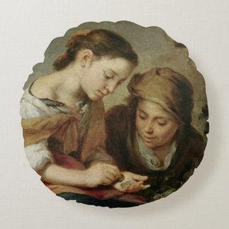 The Little Fruit-Seller, 1670-75 Round Pillow